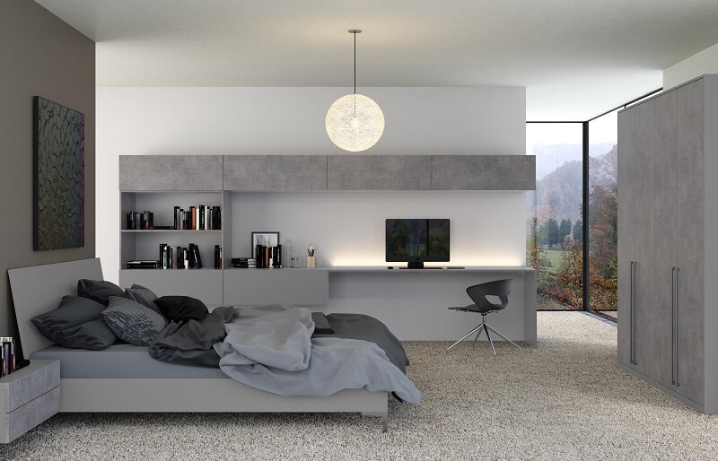 Ordering your supply only bedroom Mottingham- VALORE ANTHRACITE FABRIC METAL & SMOOTH DUST GREY