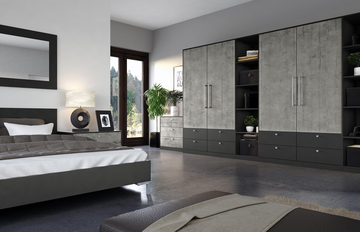 Bedroom Suppliers Mottingham-Bedroom Supply Only Mottingham-VALORE BOSTON CONCRETE & SMOOTH ANTHRACITE