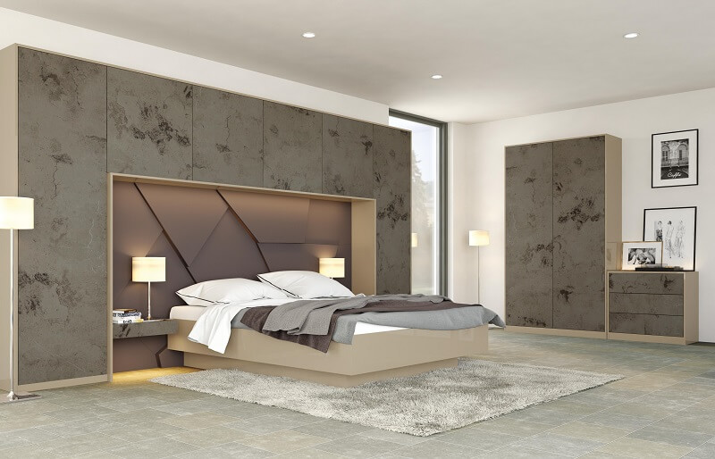 BEDROOM FURNISHERS MOTTINGHAM-ZURFIZ MAGMA TITANIUM & ULTRAGLOSS MET CHAMPAGNE BEDROOM RANGE